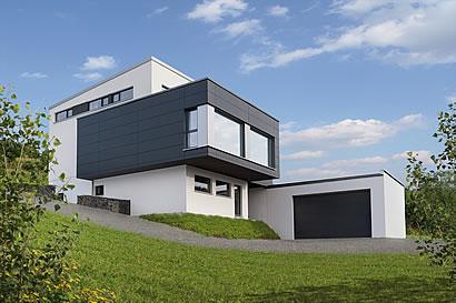 Wohnen und arbeiten unter einem dach for Modernes haus in hanglage