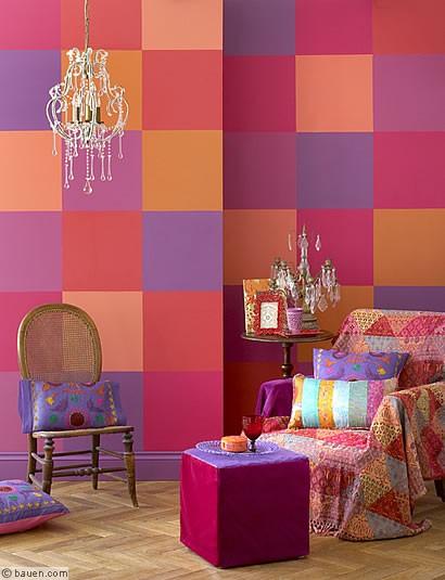 farbenfrohe patchworkw nde wohnen in sch nen farben wohnen leben. Black Bedroom Furniture Sets. Home Design Ideas