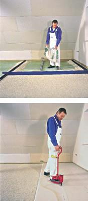 Auf den gelegentlich etwas unebenen alten Dachböden kann eine Schüttdämmung eingesetzt werden. Anschließend wird der Trockenestrich aufgebracht. Foto: Knauf