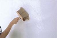 Einfaches Verarbeiten einer Vliestapete: Spezial-Kleister mit Bürste satt und gleichmäßig auf die Wand auftragen. Foto: Deutsches Tapeteninstitut